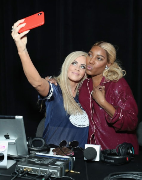 ATLANTA, GEORGIA - FEBRUARY 01:  Jenny McCarthy and NeNe Leakes attend SiriusXM at Super Bowl LIII Radio Row on February 01, 2019 in Atlanta, Georgia. (Photo by Cindy Ord/Getty Images for SiriusXM)