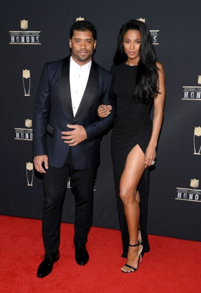 ATLANTA, GEORGIA - FEBRUARY 02: NFL player Russell Wilson (L) and Ciara attend the 8th Annual NFL Honors at The Fox Theatre on February 02, 2019 in Atlanta, Georgia. (Photo by Jason Kempin/Getty Images)